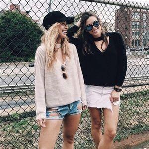 NWT LF Seek The Label Black Choker Sweater